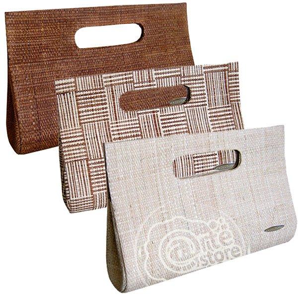 Maxi Carteira Bolsa de Mão em Palha de Buriti Cores Natural, Marrom e Mesclada