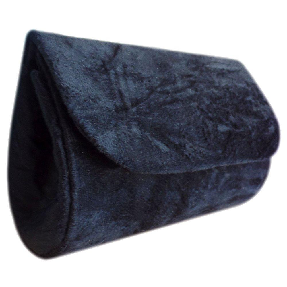 Mini Clutch em Tecido Tipo Camurça Amassadinha Preta