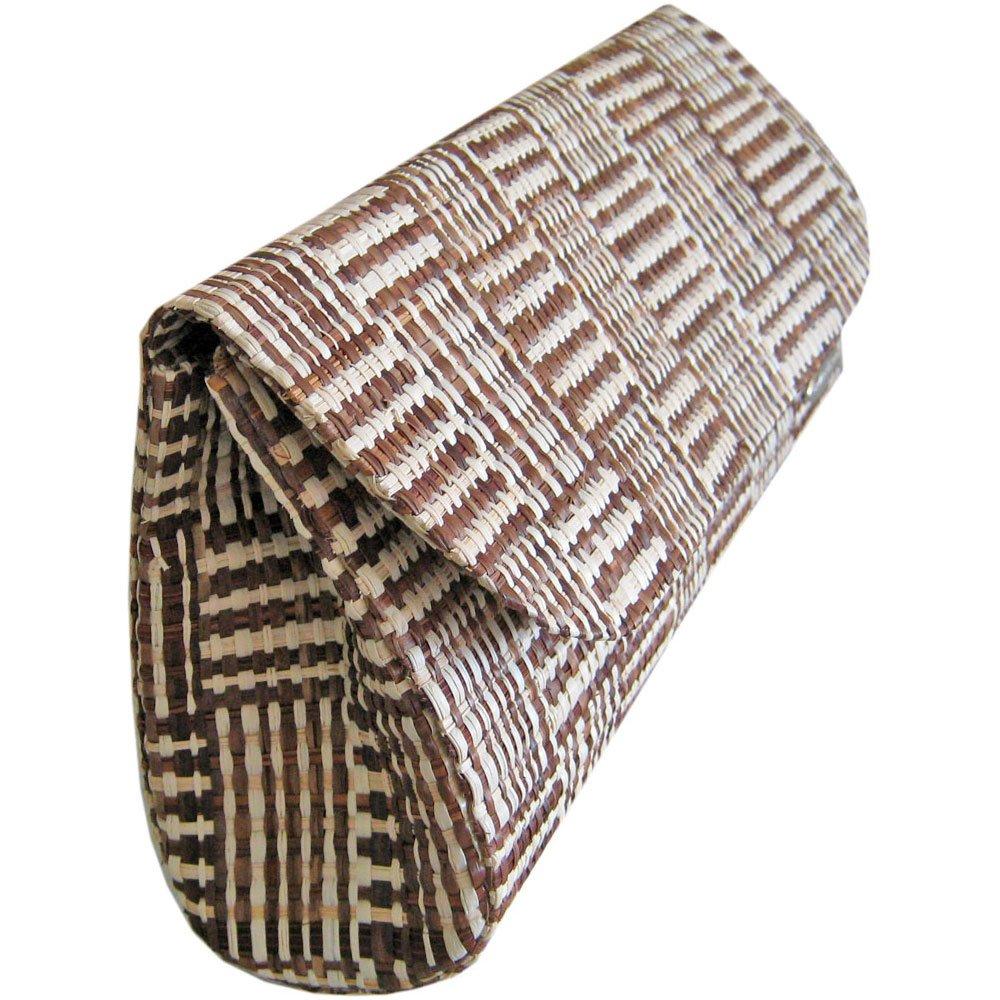 Clutch Bolsa Carteira de Mão em Palha Buriti Mesclada