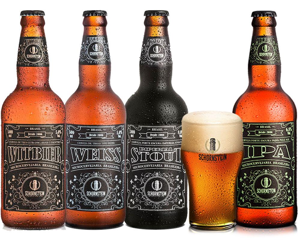 Kit Cerveja Artesanal Schornstein 4 Cervejas + Copo Ipa
