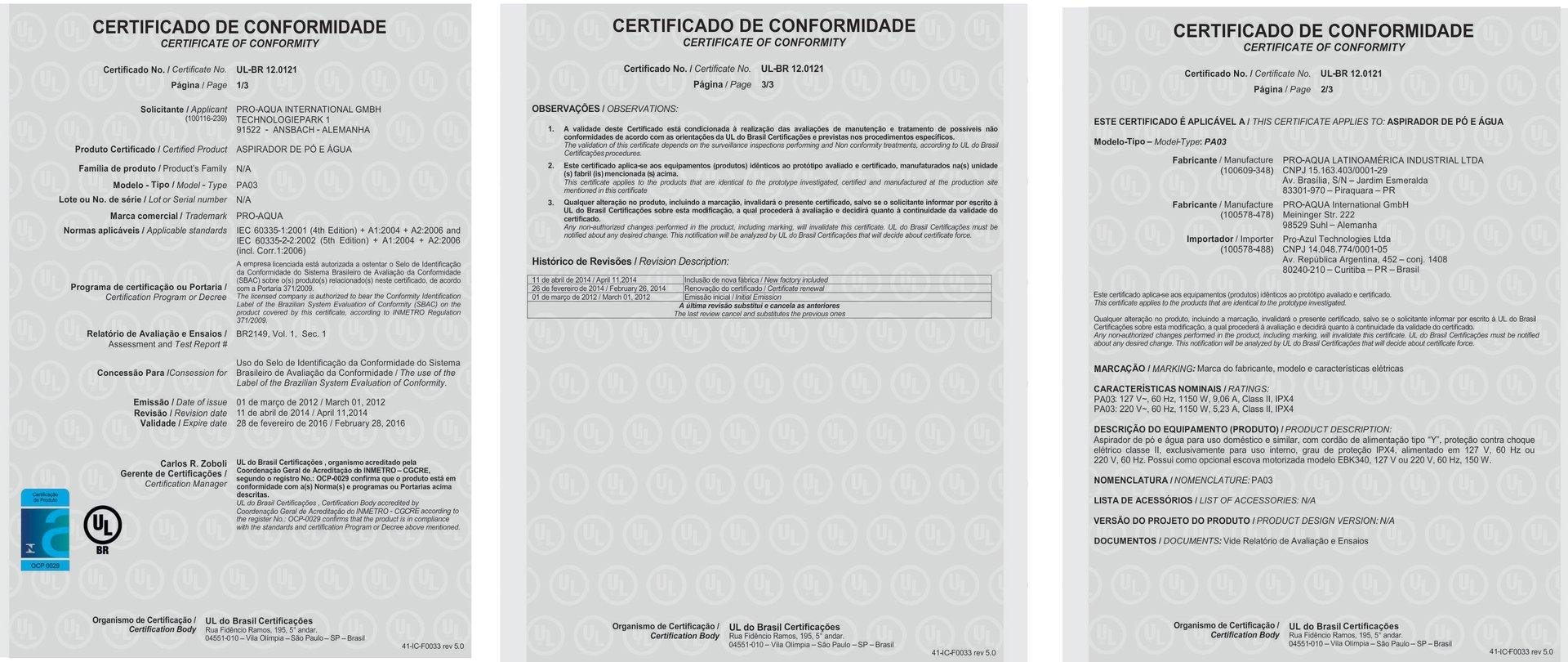 Certificado INMETRO Vivenso