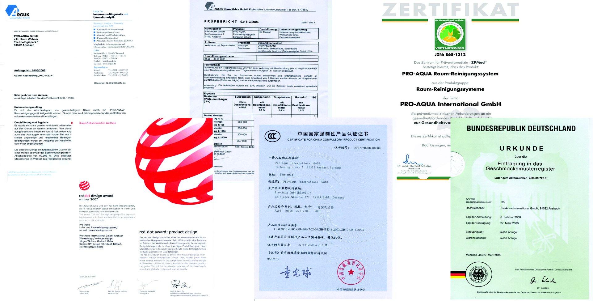 Certificados da Pro-Aqua