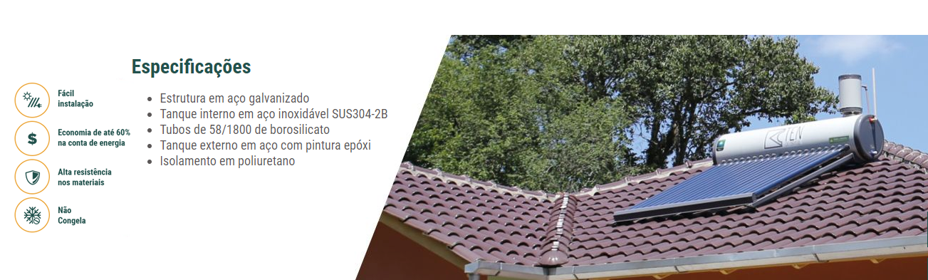 Aquecedor Solar Acoplado montado sobre telhado
