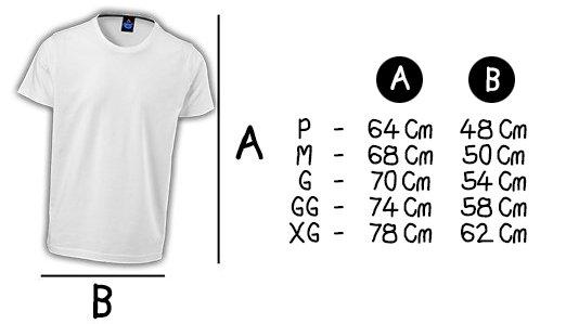 Camiseta Chá de Fita Tamanhos