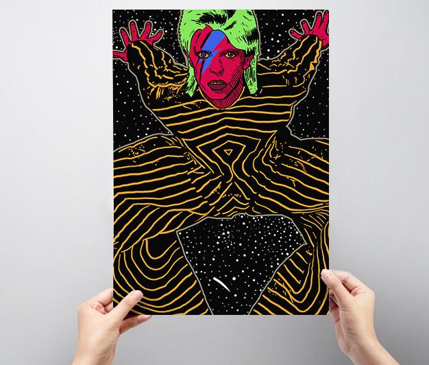 Quadro decorativo do David Bowie A3
