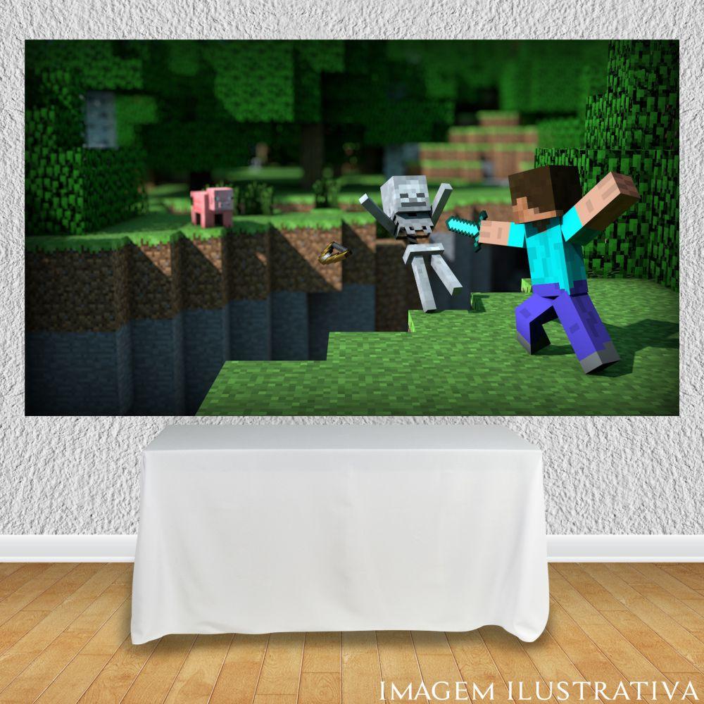 Painel Minecraft com personagens para festa infantil