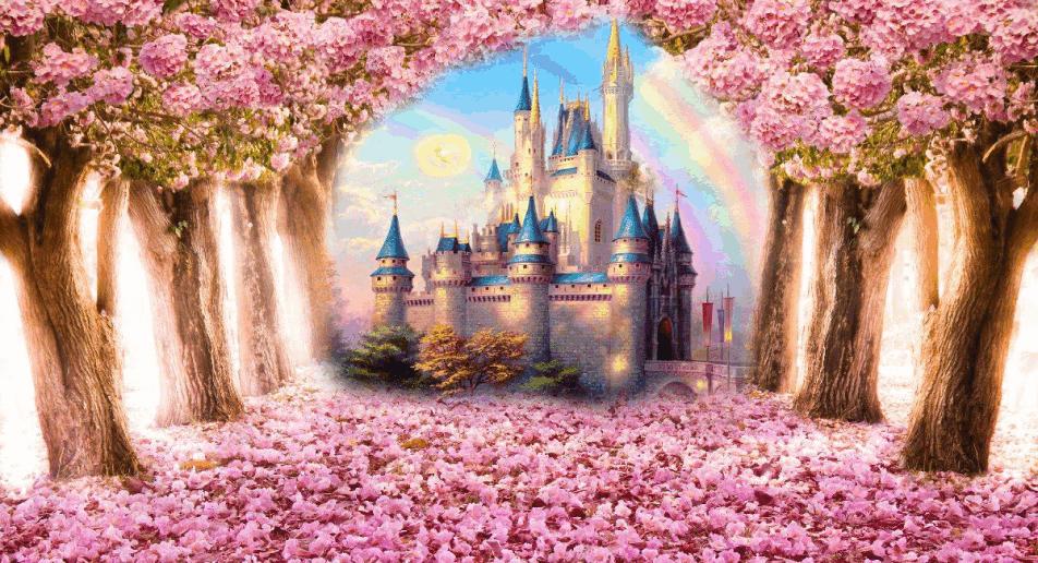 painel-de-lona-3d-floresta-rosa-encantada