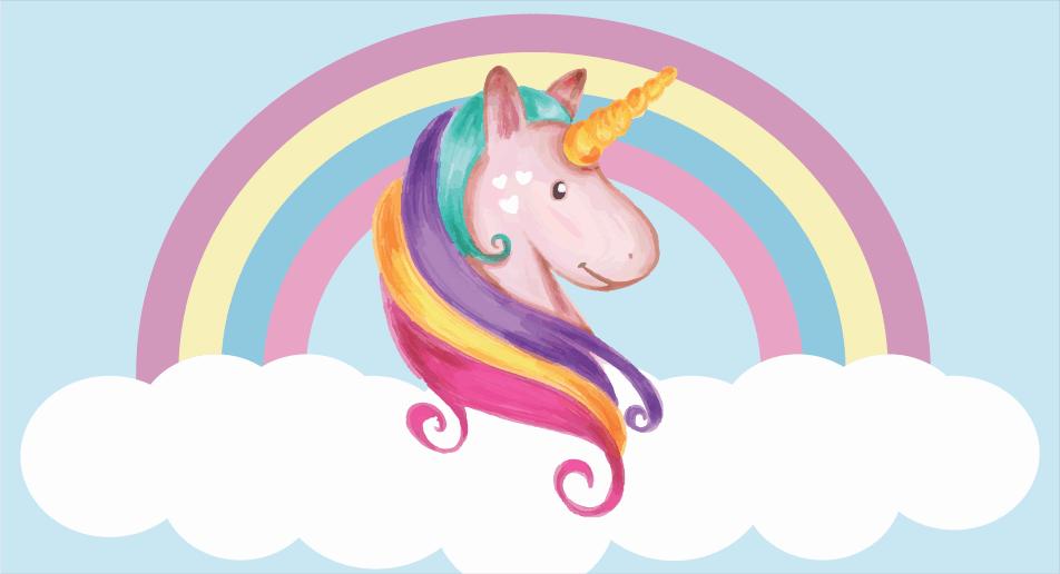 painel-unicornio-para-decoracao-fundo-azul-arco-iris