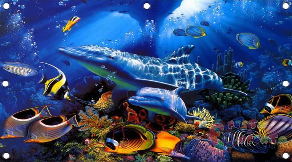 Painel De Decoração Fundo Do Mar Festa Oferta