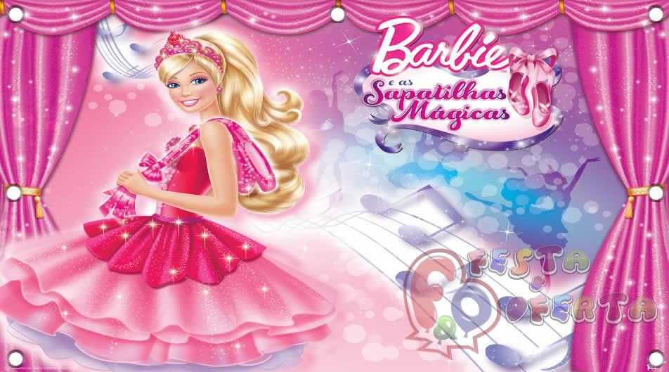d330a3e0a2 Painel para decoração de festa infantil - Barbie Sapatilhas Mágicas ...
