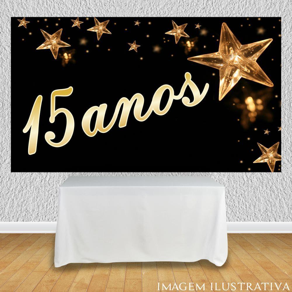 Painel De Festa 15 Anos Fundo Preto E Estrela Dourada Festa Oferta