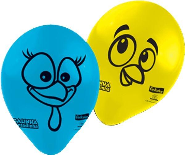 Balão De Látex Galinha Pintadinha Parabéns 25 Unid Festa Oferta