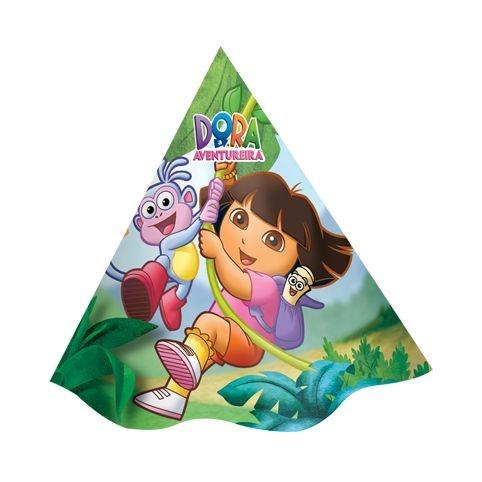 Chapéu de Aniversário Dora a Aventureira 08 unidades Festcolor 61b5808e625