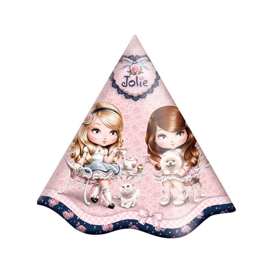 Chapéu de Aniversário Jolie 08 unidades Festcolor - Festa   Oferta db62ca344e4