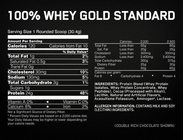 Whey Protein Gold Standard Optimum Nutrition Informação Nutricional