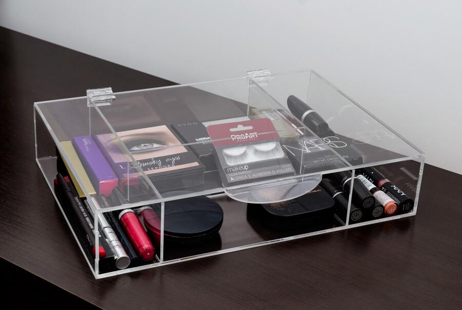 caixa de maquiagem de acrílico transparente