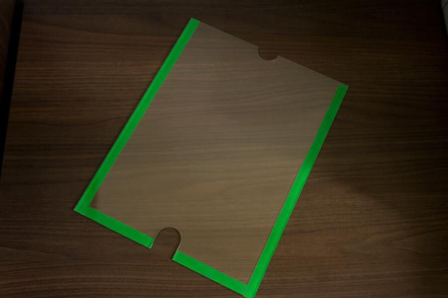 display em acrílico tamanho A4 de parede
