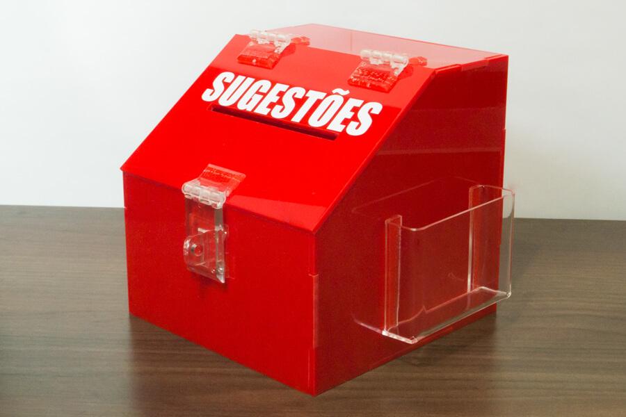 caixa pequena de sugestões de acrílico vermelho