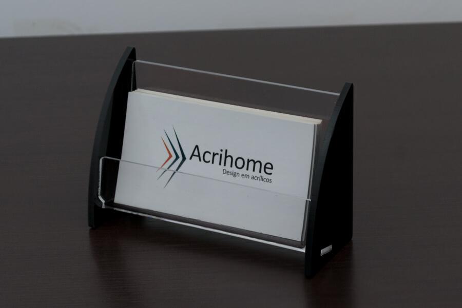 display de cartão de visita em acrílico preto