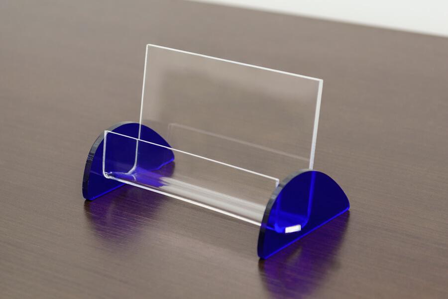 porta cartão de visita de acrílico azul