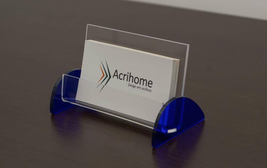 Porta cartão de visitas azul de acrílico