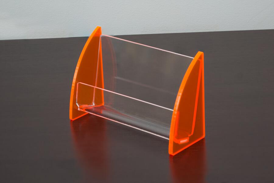 Porta cartão de visitas de acrílico laranja