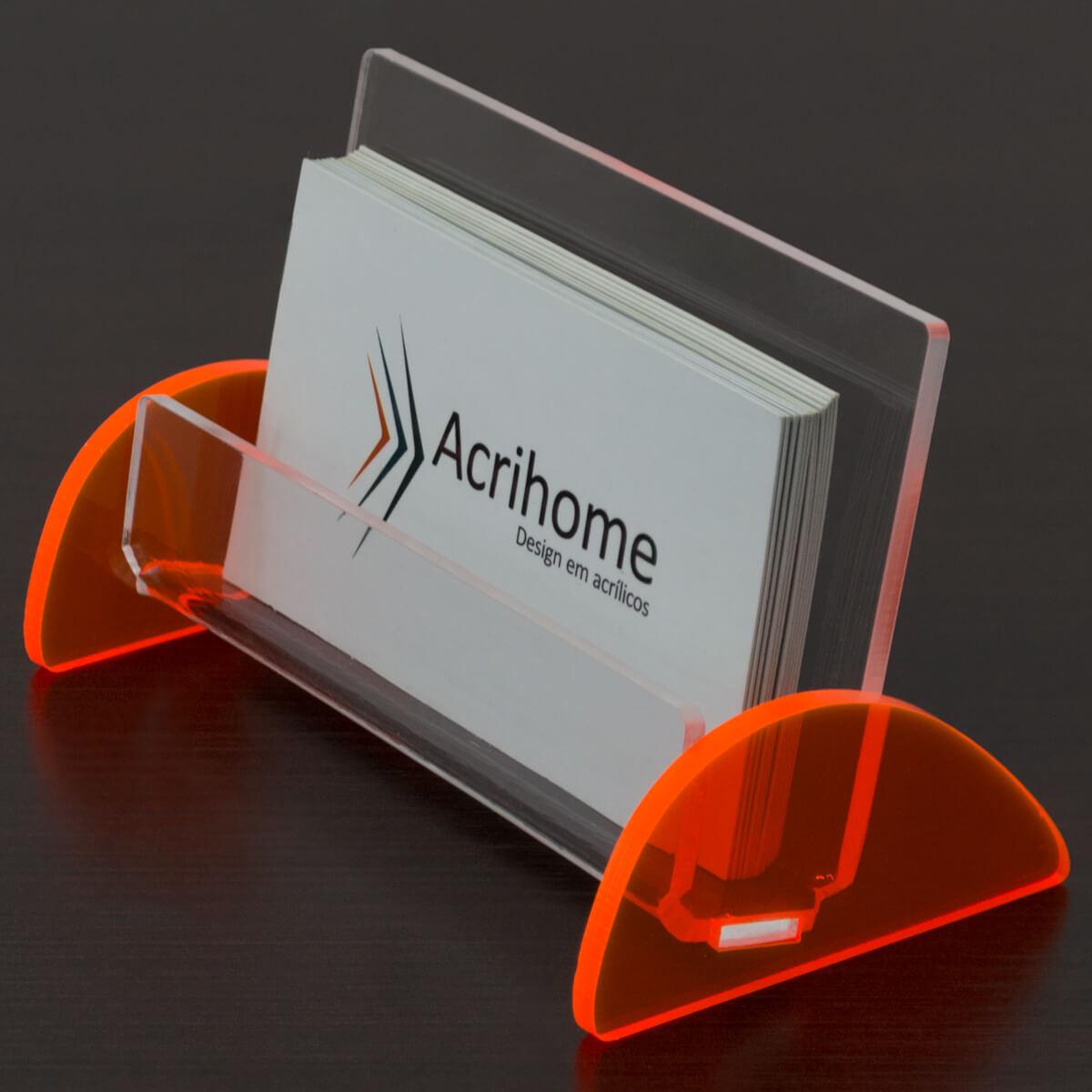 Porta cartões feito em acrílico laranja
