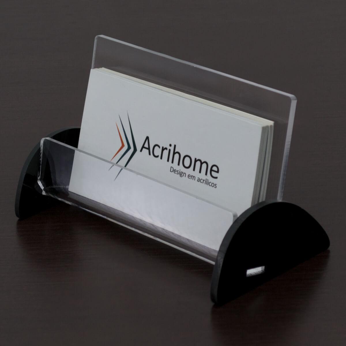 porta cartão de visitas de acrílico preto