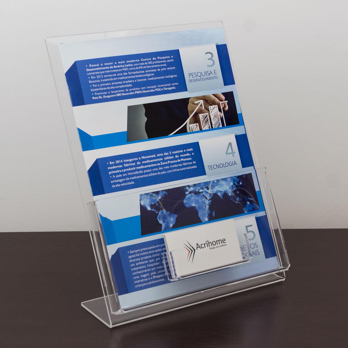Porta folder A4 com porta cartões de visita em acrílico