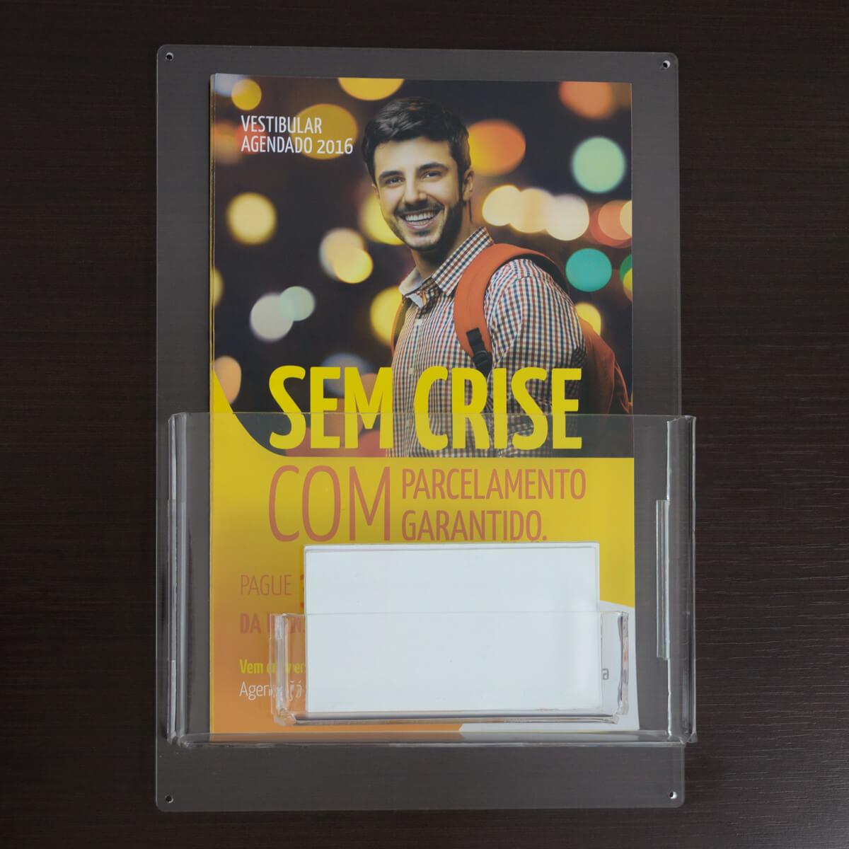 Porta folder A5 vertical com porta cartões de visitas