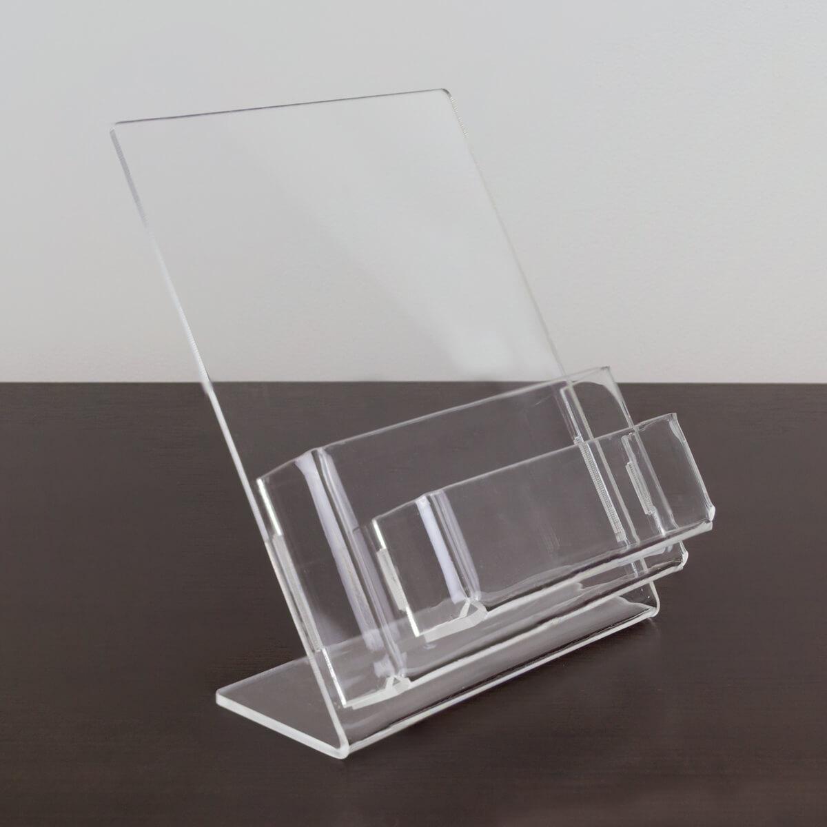 Porta folder a6 vertical de acrílico com porta cartões