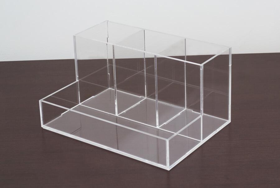 Porta pincel e lápis transparente de acrílico