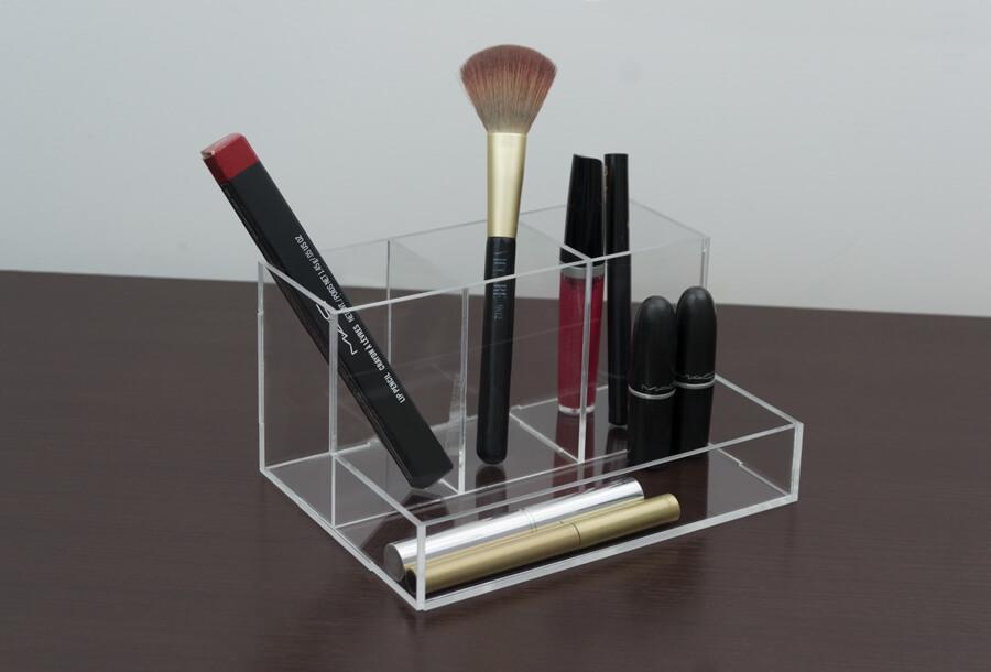 Porta pincel e lápis transparente em acrílico