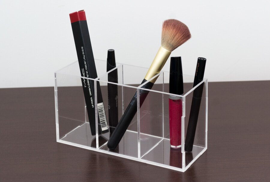 Porta pincel para maquiagem transparente