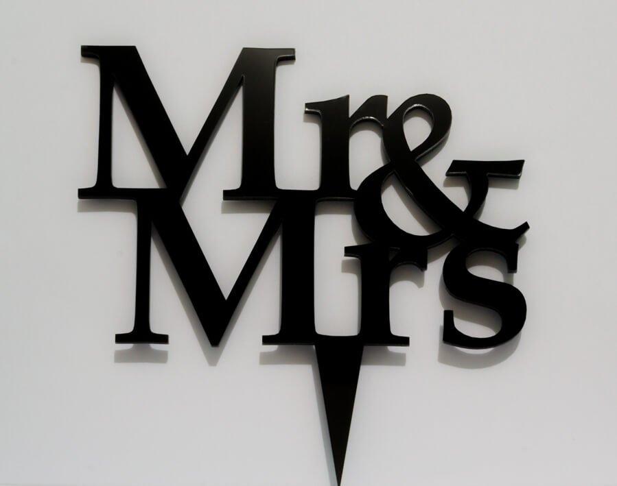 Topo de bolo de casamento mr e mrs em acrílico preto bauru