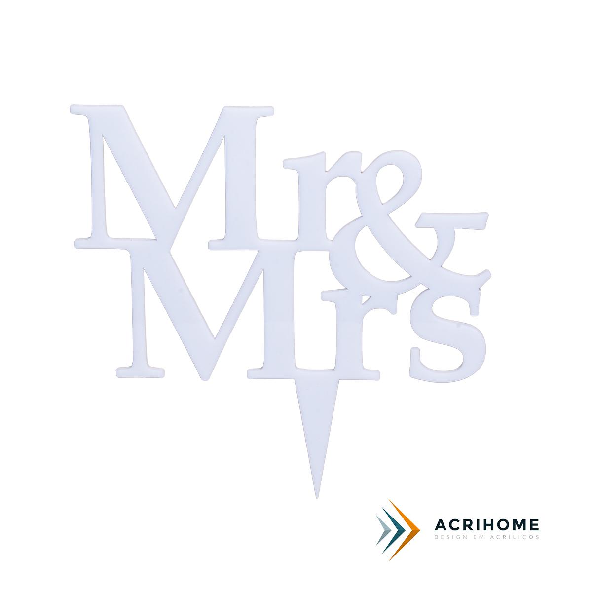 Topo de bolo de casamento Mr e Mrs em acrílico branco