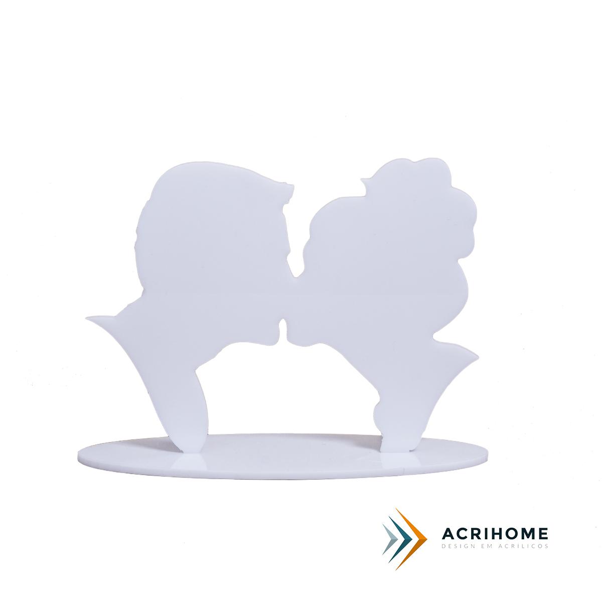 topo de bolo beijo em acrílico branco