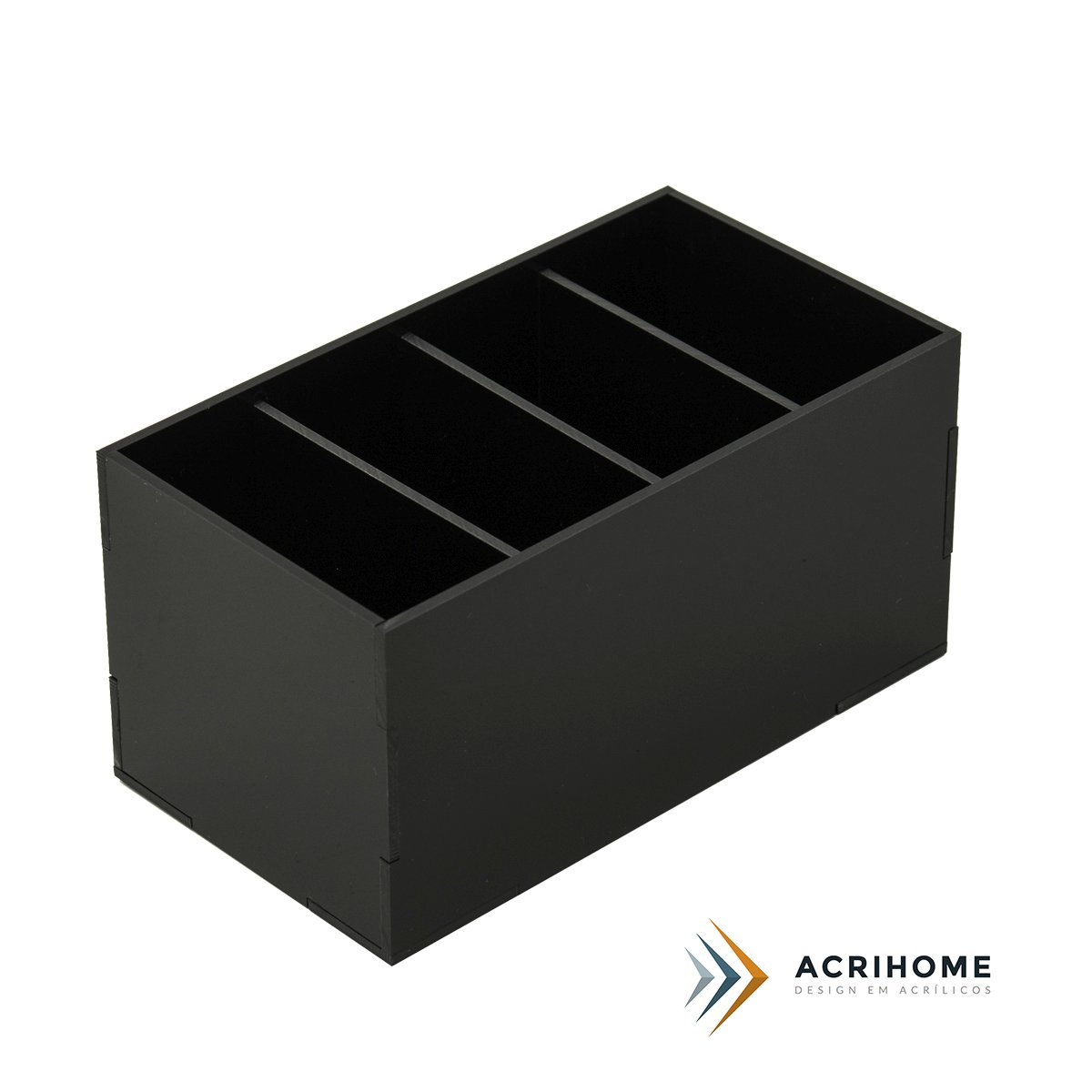 Porta controle remoto de acrílico preto
