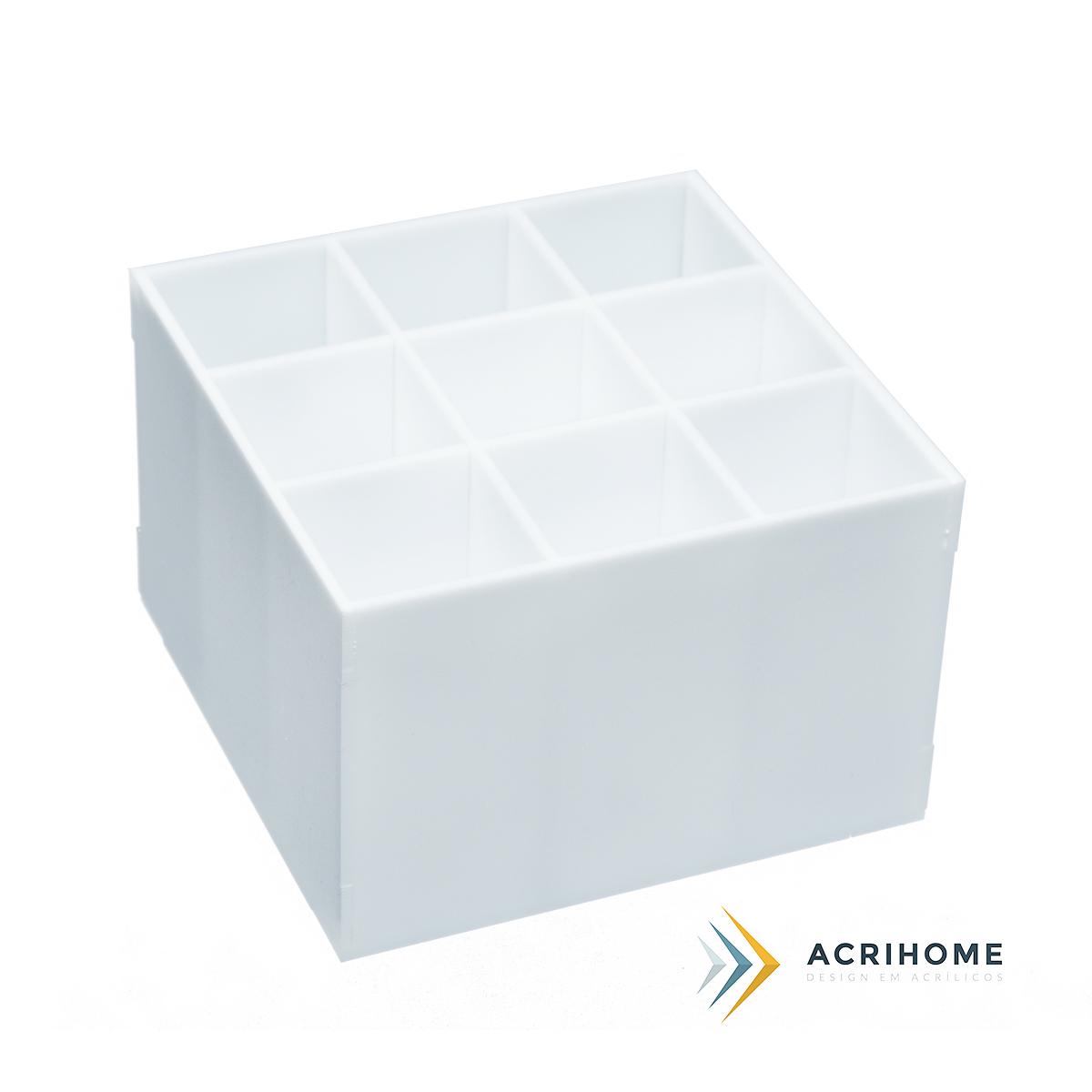 Porta pincel branco de acrílico com 9 divisórias