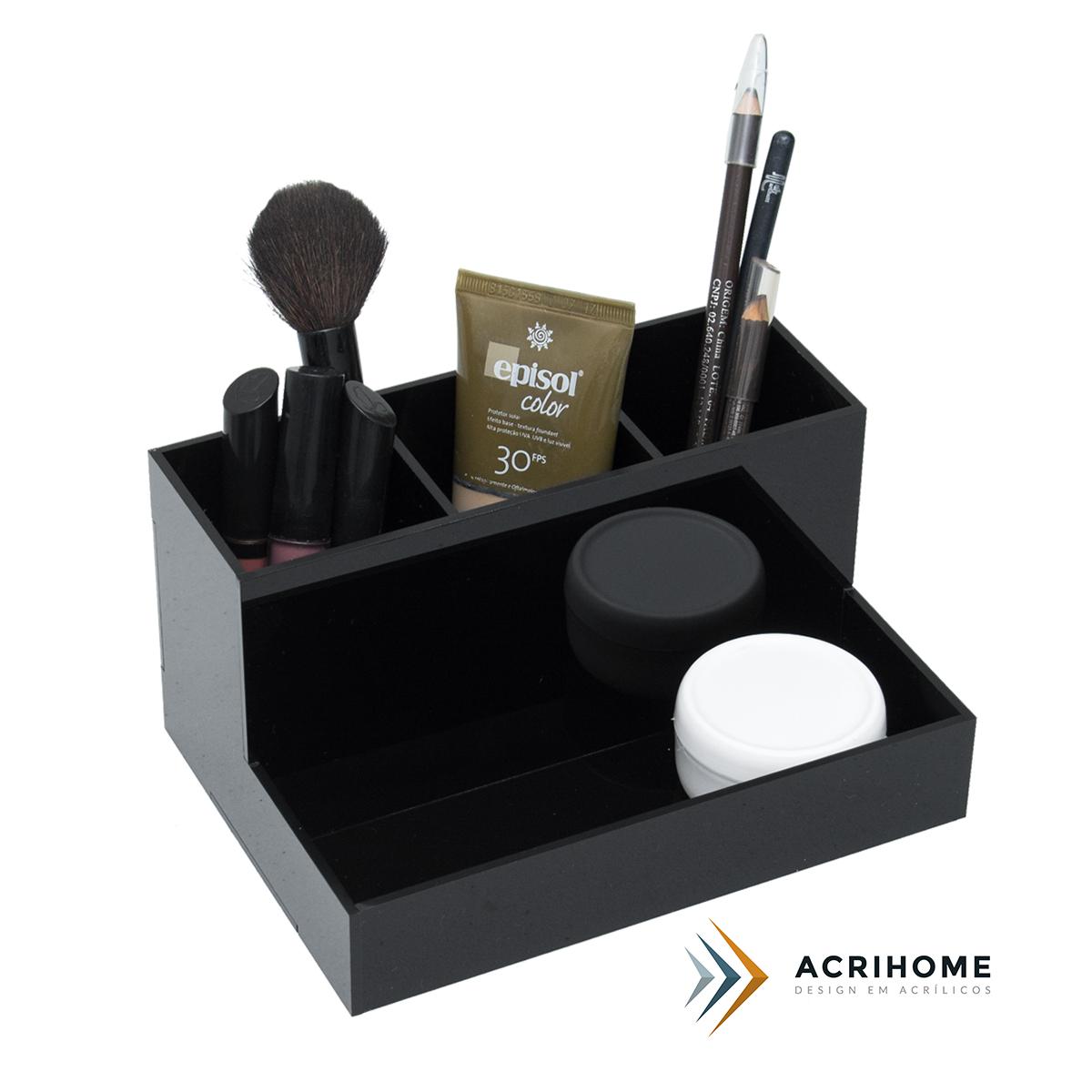 Porta pincel e lápis de acrílico preto
