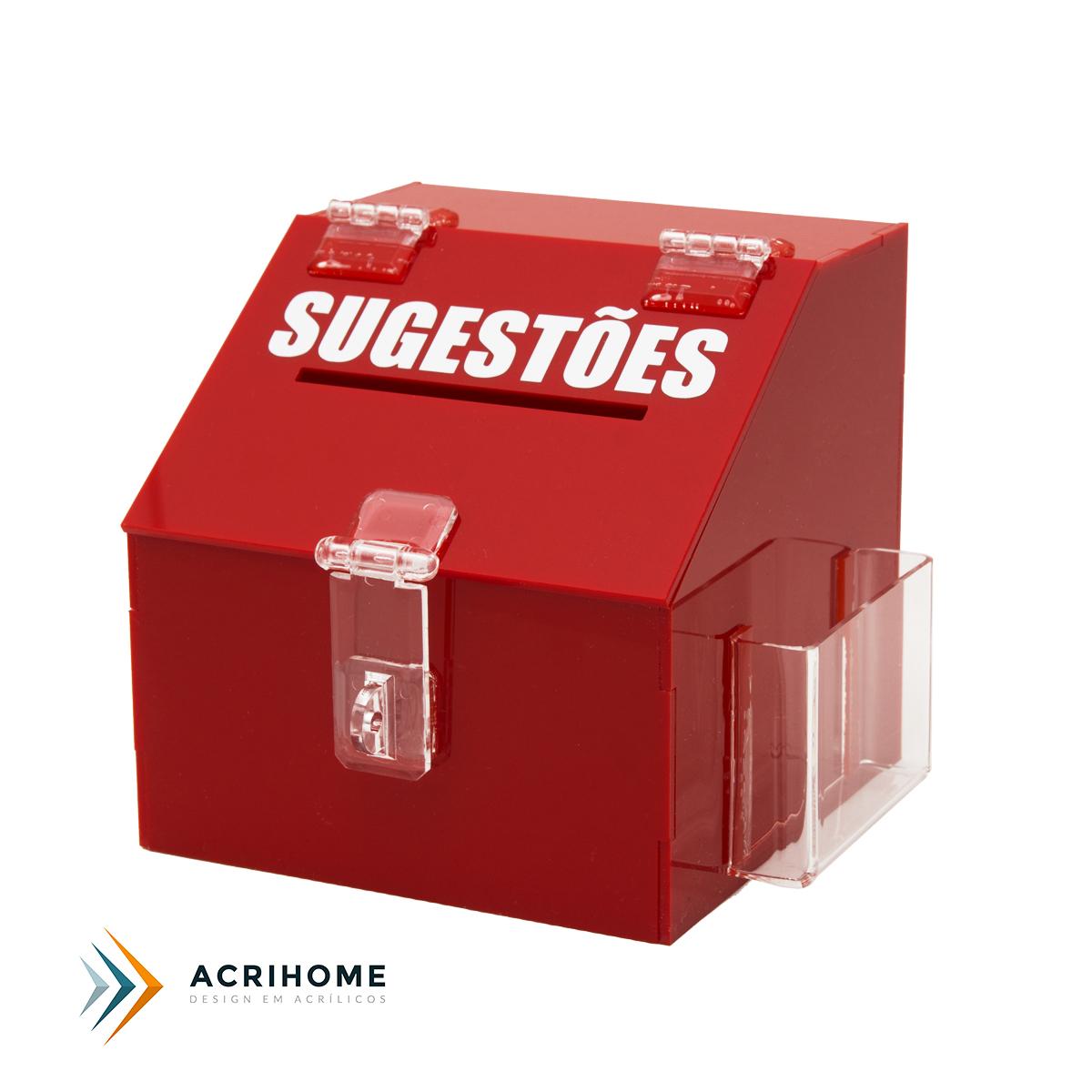 Mini caixa de sugestões de acrílico vermelho