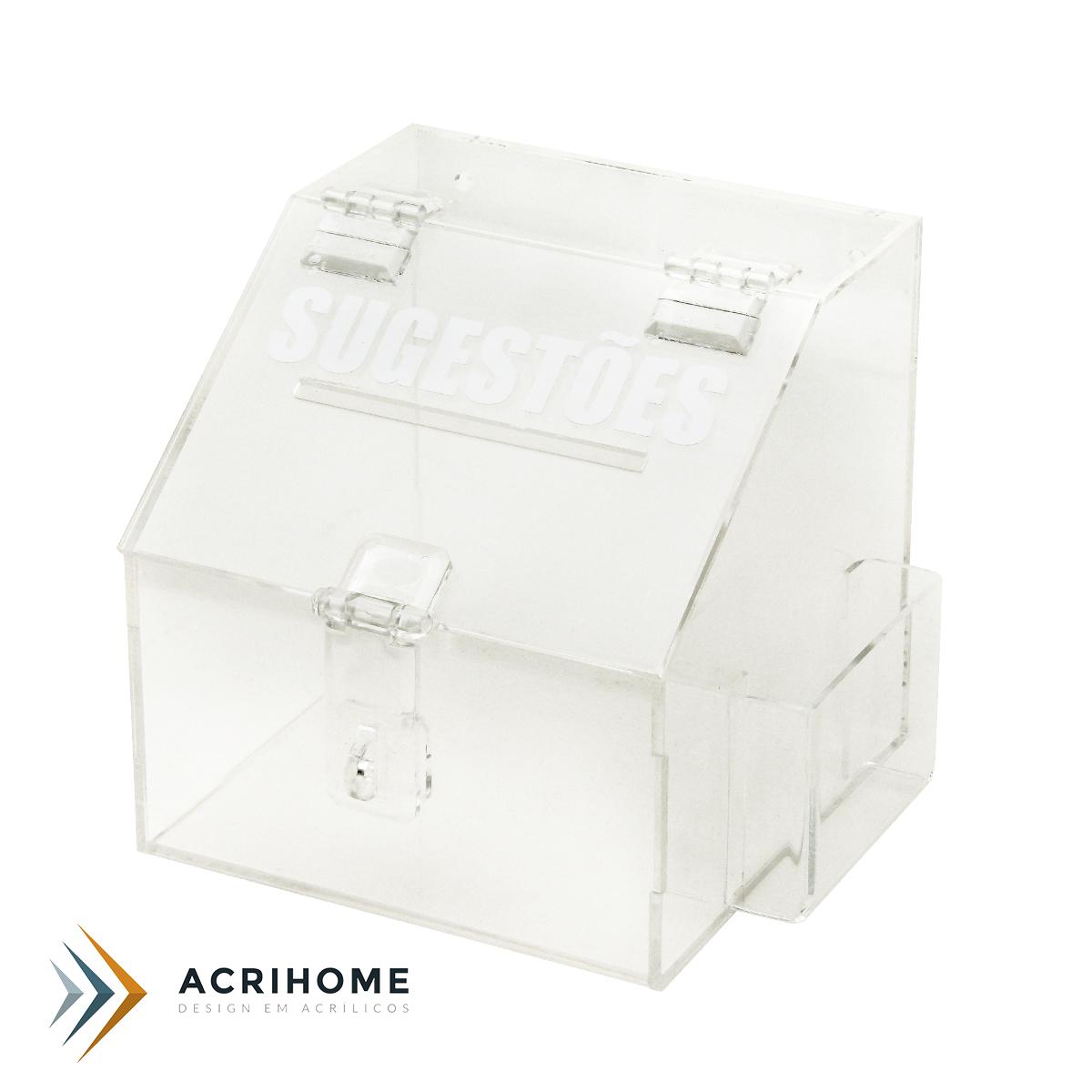 Mini caixa de sugestões de acrílico transparente