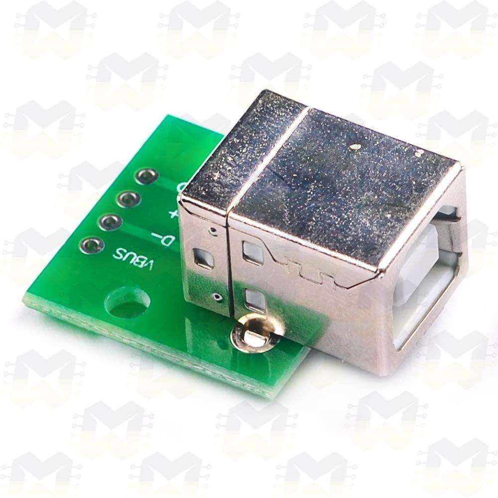 Adaptador Conector USB Macho Tipo B para DIP 2.54mm