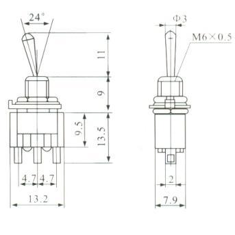Chave Alavanca 3T de 2 posições (liga / liga) - MTS-102