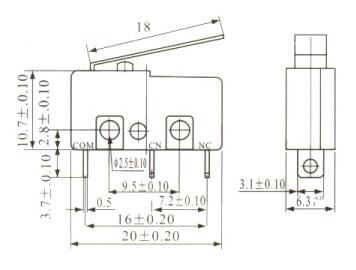 Chave Fim de curso (Micro Switch) com Haste 18MM