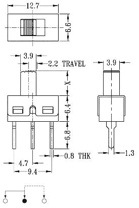 Chave HH 3T de 2 posições SS12D10 180º