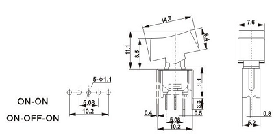 Chave Gangorra de 3 posições SRLS-103-C3H 90º