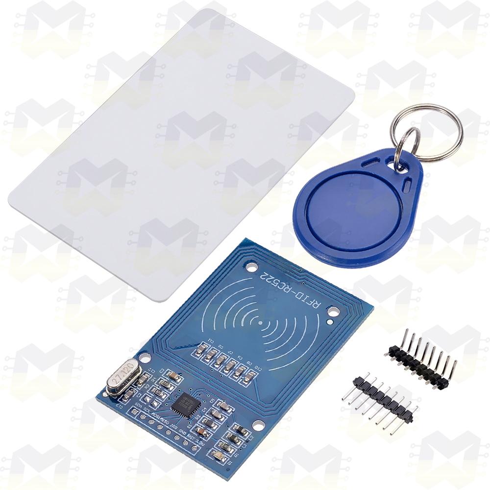 KIT com Leitor RFID MFRC522/Tag Chaveiro/Tag Cartão - 13,56MHz Arduino NodeMCU ESP8266 Raspberry PIC Automação Residencial