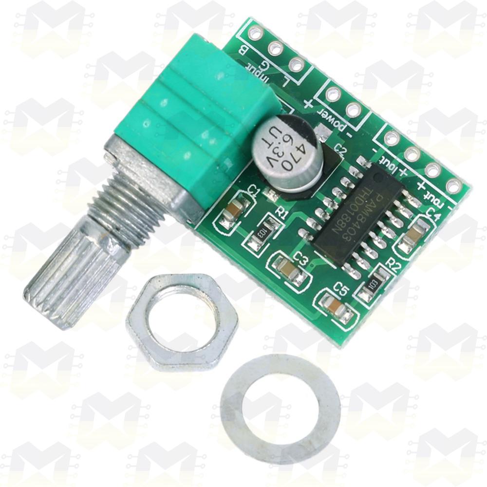 Módulo Amplificador de Som com Controle de Volume - PAM8403 Alto Falantes Fone Ouvido Estéreo
