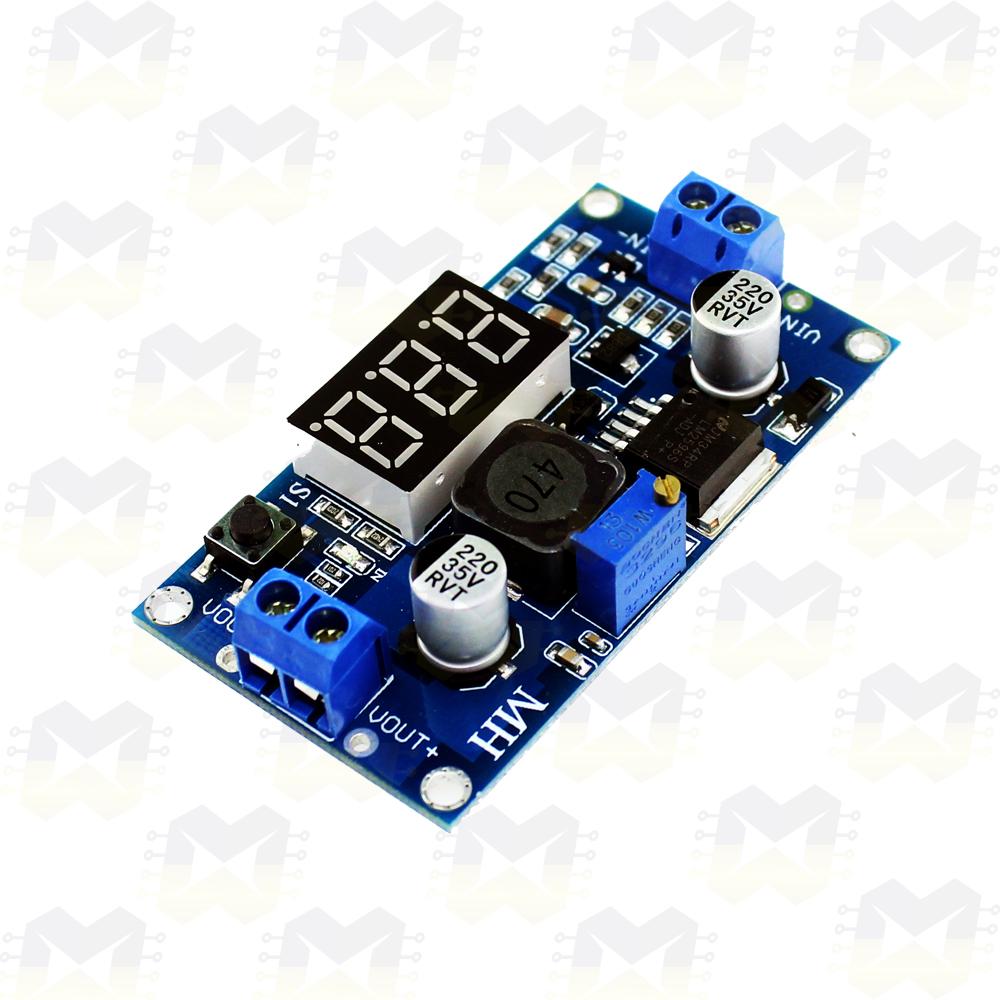 Módulo Regulador de Tensão Ajustável LM2596 Step Down com Display Arduino Fonte PIC Raspberry Componentes